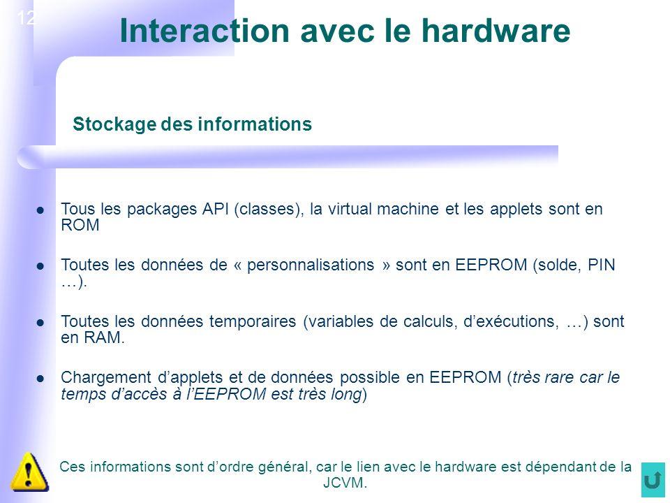 12 Interaction avec le hardware Tous les packages API (classes), la virtual machine et les applets sont en ROM Toutes les données de « personnalisations » sont en EEPROM (solde, PIN …).
