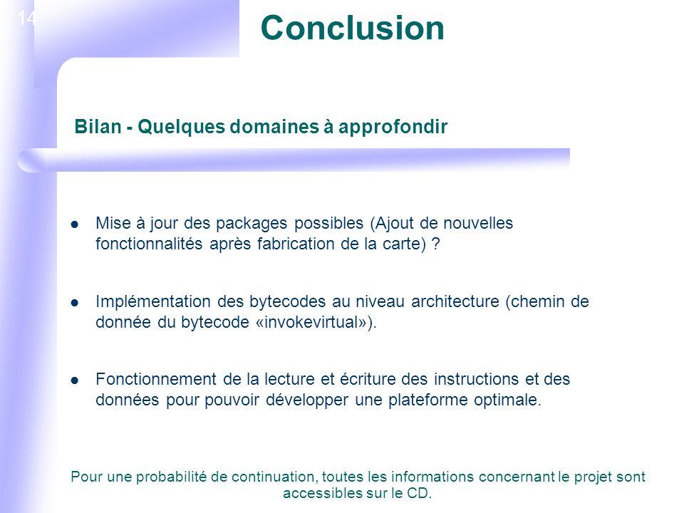 14 Conclusion Mise à jour des packages possibles (Ajout de nouvelles fonctionnalités après fabrication de la carte) .