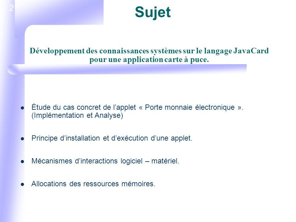 2 Sujet Étude du cas concret de lapplet « Porte monnaie électronique ».