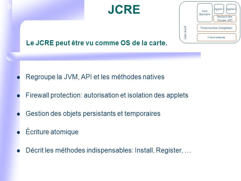 7 Install(): créer une instance de la sous classe Applet Register(): Enregistre linstance de lapplet avec le JCRE et assigne un AID Select(): Activation de lapplet par le JCRE Deselect(): Désactivation de lapplet Process(): Traite les commandes APDUs Listes des méthodes indispensables JAVACARD Native méthode Virtual machine (Interpréteur ) Card Exécutive Standard class libraries (API ) Applet 1Applet 2
