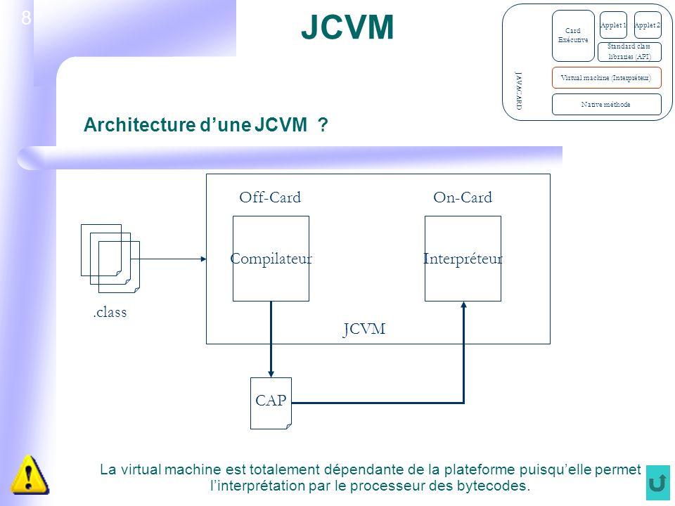 8 JCVM La virtual machine est totalement dépendante de la plateforme puisquelle permet linterprétation par le processeur des bytecodes.