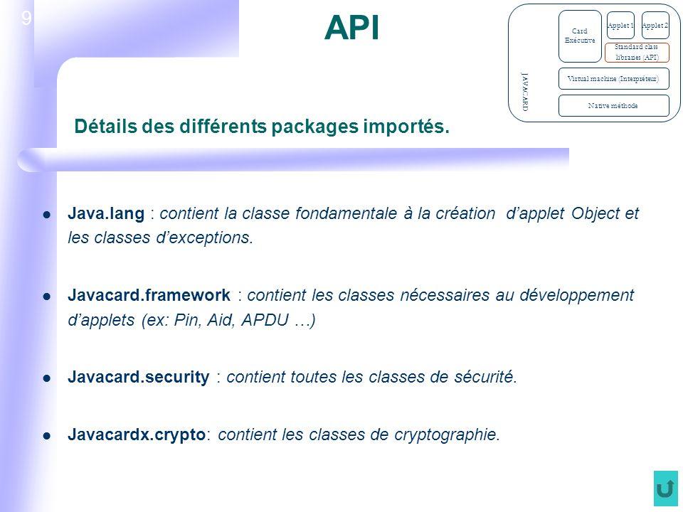 9 API Java.lang : contient la classe fondamentale à la création dapplet Object et les classes dexceptions.