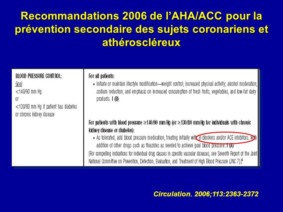 Recommandations 2006 de lAHA/ACC pour la prévention secondaire des sujets coronariens et athéroscléreux Circulation.