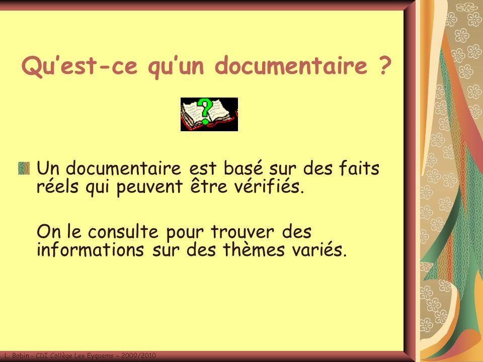 Quest-ce quun documentaire .