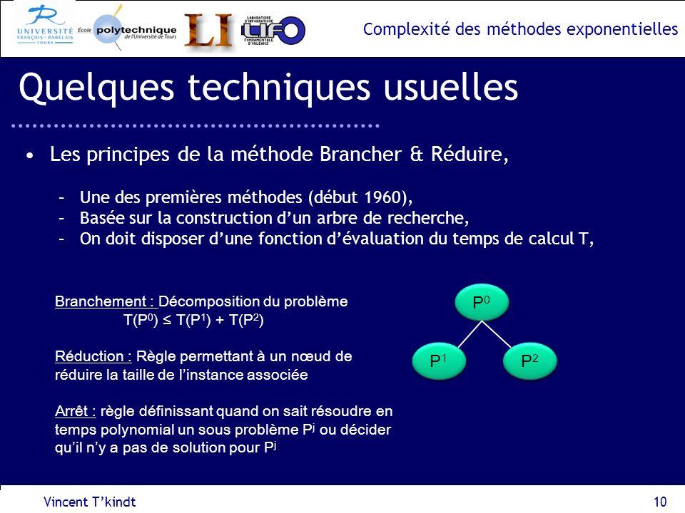 Complexité des méthodes exponentielles Vincent Tkindt10 Quelques techniques usuelles Les principes de la méthode Brancher & Réduire, –Une des première