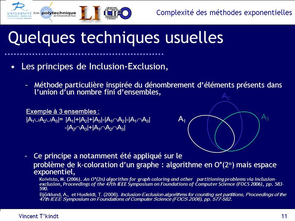 Complexité des méthodes exponentielles Vincent Tkindt11 Quelques techniques usuelles Les principes de Inclusion-Exclusion, –Méthode particulière inspi