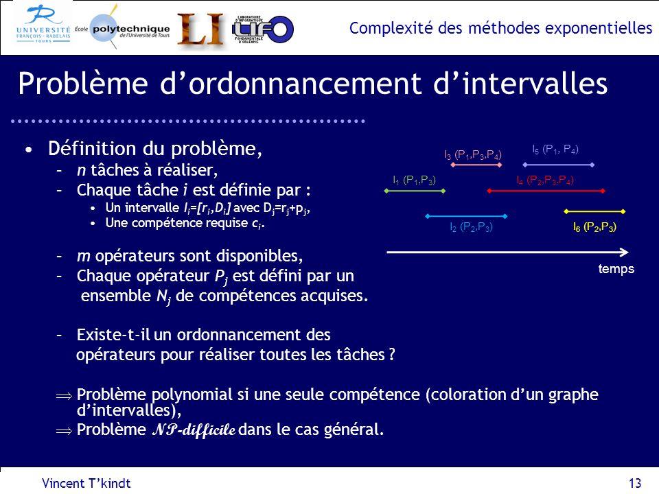 Complexité des méthodes exponentielles Vincent Tkindt13 Problème dordonnancement dintervalles Définition du problème, –n tâches à réaliser, –Chaque tâ