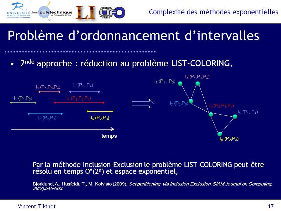 Complexité des méthodes exponentielles I 2 (P 2,P 3 ) 2 nde approche : réduction au problème LIST-COLORING, Vincent Tkindt17 Problème dordonnancement