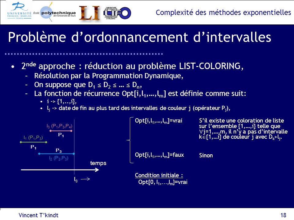 Complexité des méthodes exponentielles 2 nde approche : réduction au problème LIST-COLORING, –Résolution par la Programmation Dynamique, –On suppose q