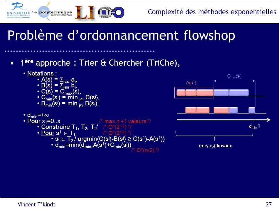 Complexité des méthodes exponentielles Vincent Tkindt27 Problème dordonnancement flowshop 1 ère approche : Trier & Chercher (TriChe), Notations : A(s)