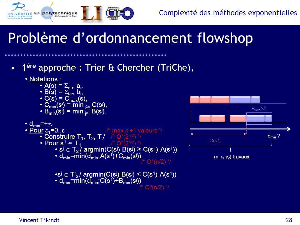 Complexité des méthodes exponentielles Vincent Tkindt28 Problème dordonnancement flowshop 1 ère approche : Trier & Chercher (TriChe), Notations : A(s)