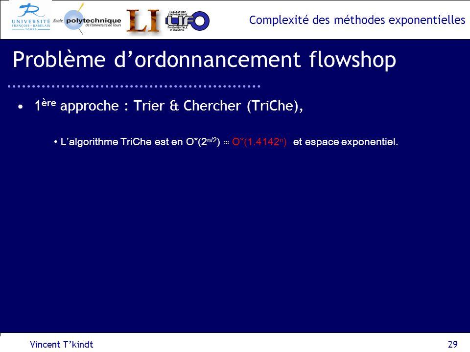 Complexité des méthodes exponentielles Vincent Tkindt29 Problème dordonnancement flowshop 1 ère approche : Trier & Chercher (TriChe), Lalgorithme TriC