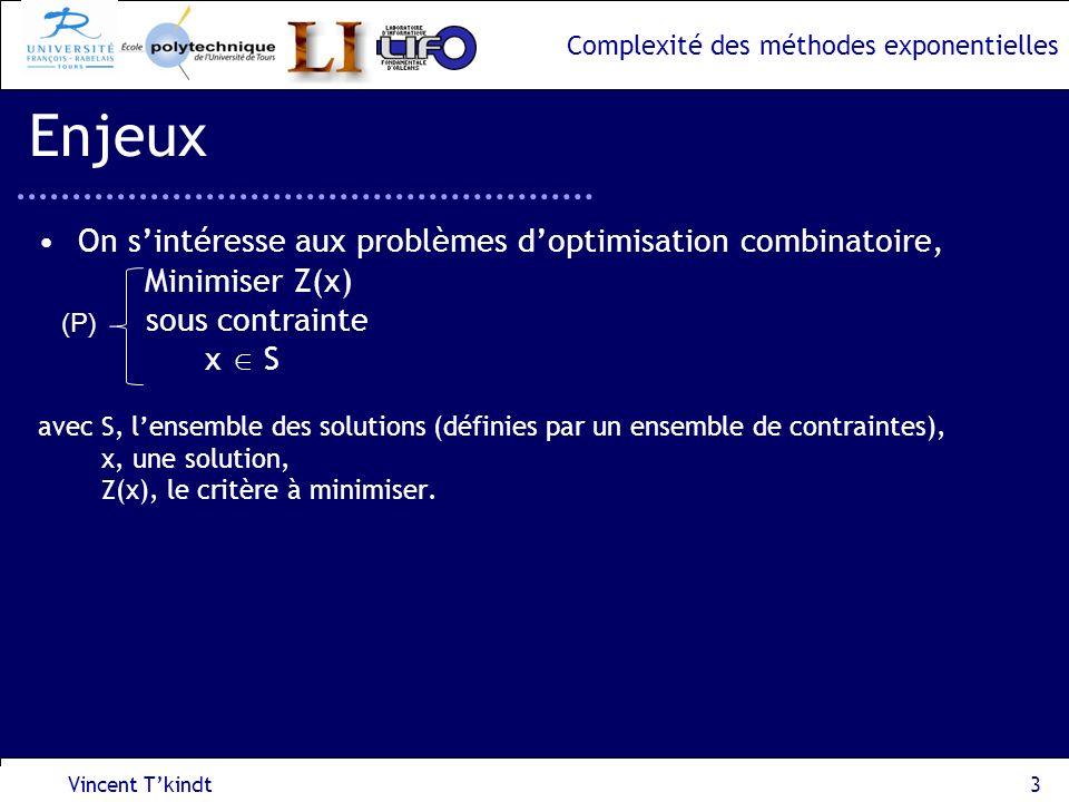 Complexité des méthodes exponentielles Vincent Tkindt14 Problème dordonnancement dintervalles Complexité de lénumération basique Enum, –On a au plus m n ordonnancement des opérateurs, –Complexité en O*(m n ) = O*(2 n.log(m) ), I 1 (P 1,P 3 ) I 2 (P 2,P 3 ) I 3 (P 1,P 3,P 4 ) I 5 (P 1, P 4 ) I 4 (P 2,P 3,P 4 ) I 6 (P 2,P 3 ) temps I 1,P 1 I 1,P 3 I 2, P 2 I 2, P 3 … n niveaux au plus m nœuds fils par noeud