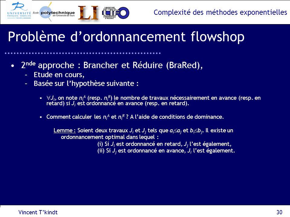 Complexité des méthodes exponentielles Vincent Tkindt30 Problème dordonnancement flowshop 2 nde approche : Brancher et Réduire (BraRed), –Etude en cou