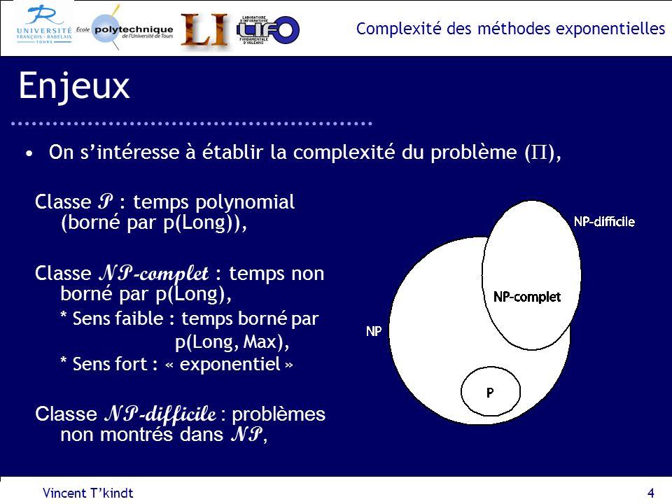 Complexité des méthodes exponentielles 1 ère approche : réduction au problème MAX-STABLE, –Modélisation par un graphe ayant N=mn sommets au plus, –Le problème MAX-STABLE peut être résolu en O*(1.2132 N ), => Le problème dordonnancement est en O*(1.2132 mn ) –Meilleur que Enum dès lors que m 13, Vincent Tkindt15 Problème dordonnancement dintervalles I 1 (P 1,P 3 ) I 2 (P 2,P 3 ) I 3 (P 1,P 3,P 4 ) I 5 (P 1, P 4 ) I 4 (P 2,P 3,P 4 ) I 6 (P 2,P 3 ) temps (I 4, P 2 ) (I 4, P 3 ) (I 3,P 3 ) (I 1, P 1 ) (I 1, P 3 ) (I 3,P 1 )(I 3,P 4 ) (I 2, P 3 ) (I 2, P 2 ) (I 4, P 4 ) (I 5, P 4 ) (I 5, P 1 ) (I 6, P 2 ) (I 6, P 3 ) P1P1 P1P1 P1P1 P3P3 P2P2 P3P3