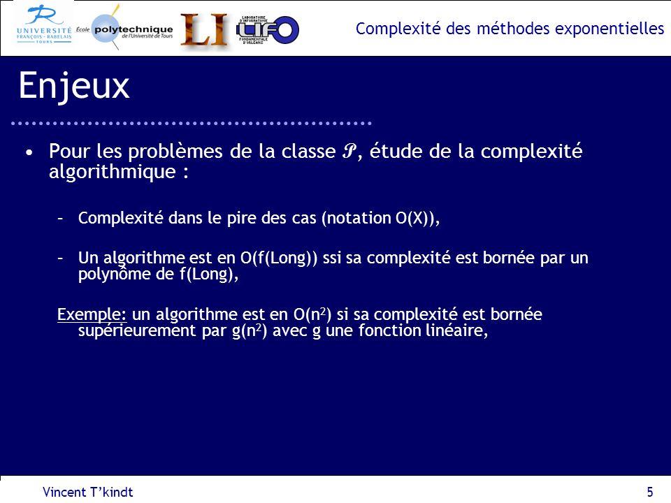 Complexité des méthodes exponentielles I 2 (P 2,P 3 ) 2 nde approche : réduction au problème LIST-COLORING, Vincent Tkindt16 Problème dordonnancement dintervalles I 1 (P 1,P 3 ) I 2 (P 2,P 3 ) I 3 (P 1,P 3,P 4 ) I 5 (P 1, P 4 ) I 4 (P 2,P 3,P 4 ) I 6 (P 2,P 3 ) temps I 1 (P 1, P 3 ) I 3 (P 1,P 3,P 4 ) I 4 (P 2,P 3,P 4 ) I 5 (P 1, P 4 ) I 6 (P 2,P 3 ) Coloration de liste (LIST-COLORING) Entrée : un graphe G=(V,E), une liste de couleurs autorisées par sommet Question : Existe-t-il une coloration des sommets de G ?