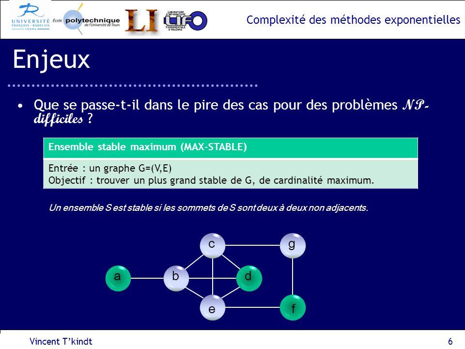 Complexité des méthodes exponentielles Vincent Tkindt7 Enjeux Dans lexemple du problème « Ensemble stable maximum », –Le problème est NP-difficile, –Objectif : est-il possible de calculer une borne supérieure à la complexité dans le pire des cas dune méthode exponentielle .