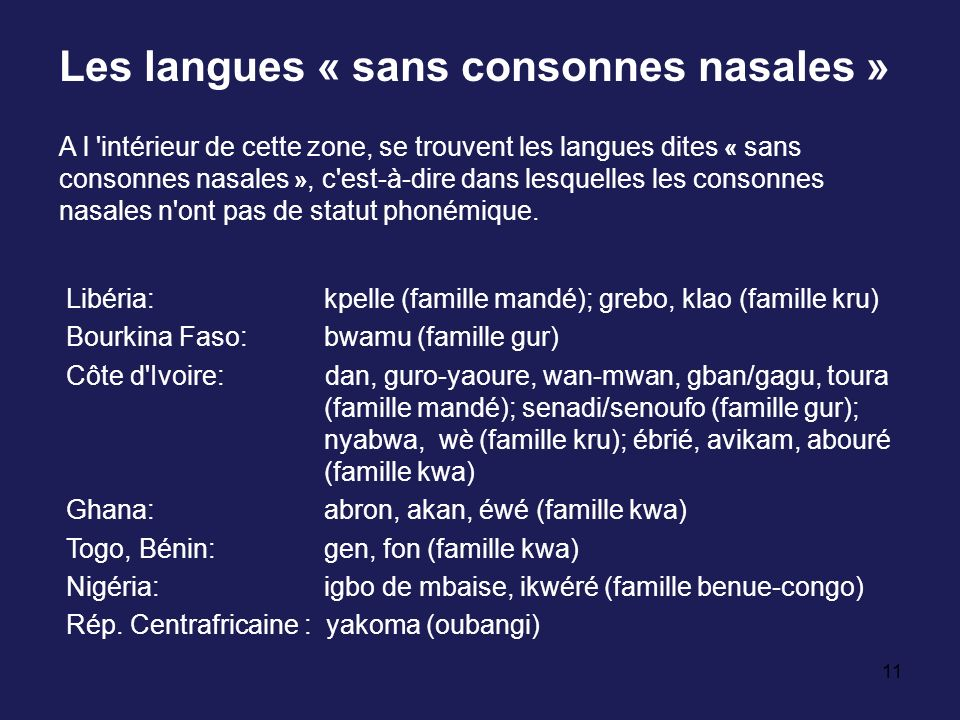 11 Les langues « sans consonnes nasales » A l 'intérieur de cette zone, se trouvent les langues dites « sans consonnes nasales », c'est-à-dire dans le