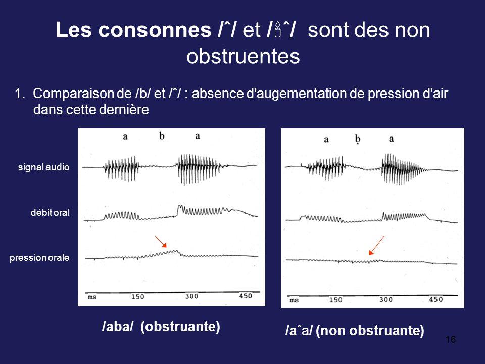 16 Les consonnes /ˆ/ et / ˆ/ sont des non obstruentes /aba/ (obstruante) /aˆa/ (non obstruante) 1. Comparaison de /b/ et /ˆ/ : absence d'augementation