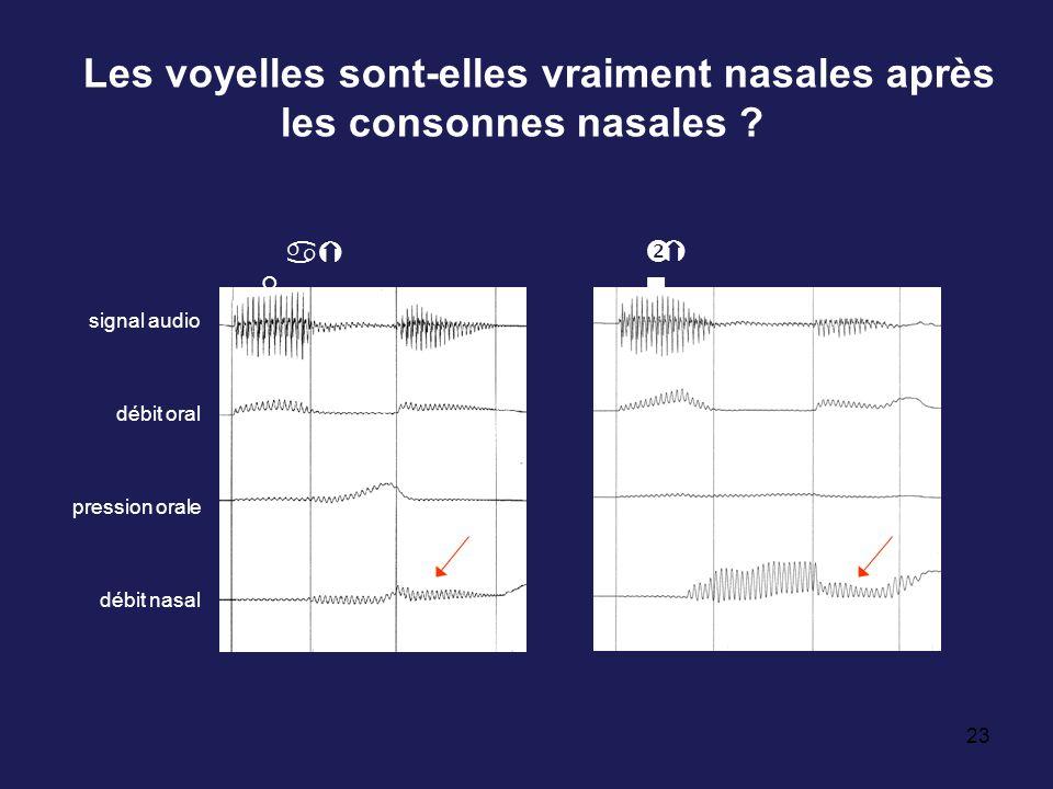23 Les voyelles sont-elles vraiment nasales après les consonnes nasales ? aÝ d a0Û signal audio débit oral pression orale débit nasal Ý n a0Ý