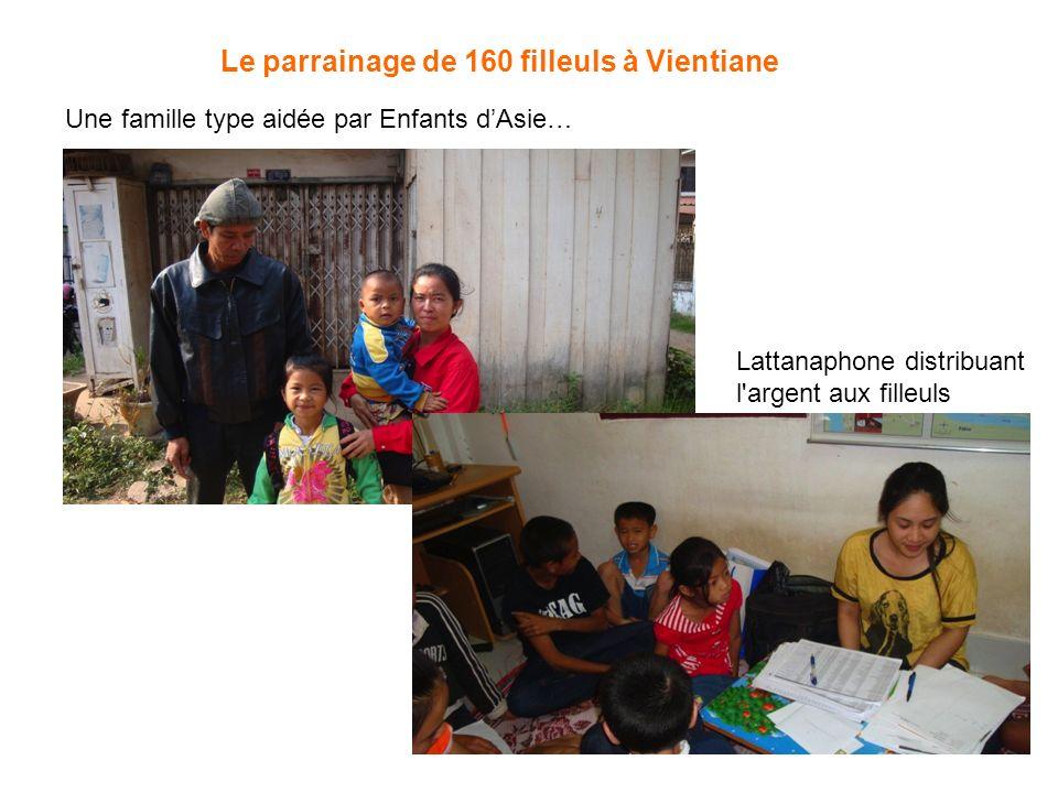 Une famille type aidée par Enfants dAsie… Lattanaphone distribuant l'argent aux filleuls Le parrainage de 160 filleuls à Vientiane
