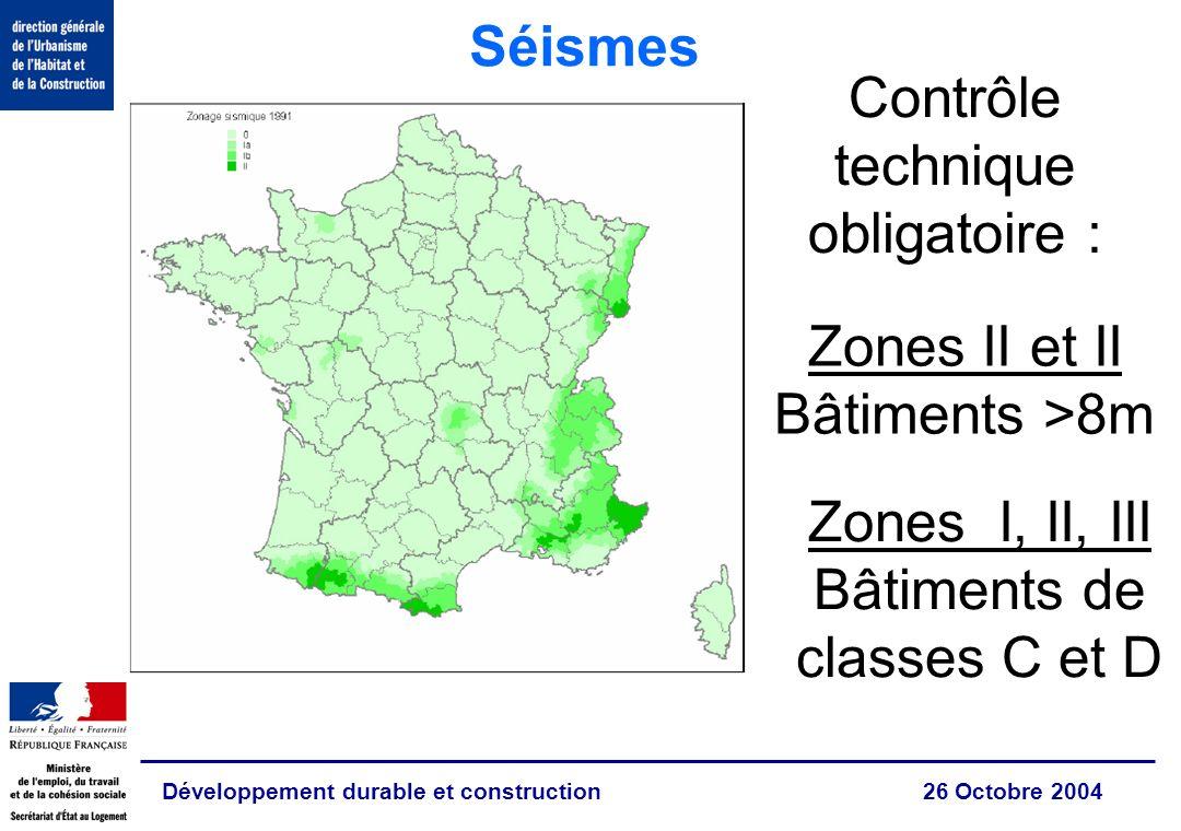 Développement durable et construction 26 Octobre 2004 Zones II et II Bâtiments >8m Zones I, II, III Bâtiments de classes C et D Séismes Contrôle technique obligatoire :