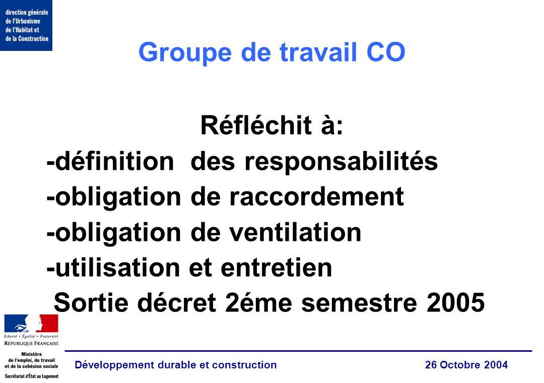 Développement durable et construction 26 Octobre 2004 Groupe de travail CO Réfléchit à: -définition des responsabilités -obligation de raccordement -o