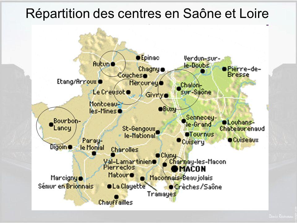 Répartition des centres en Saône et Loire