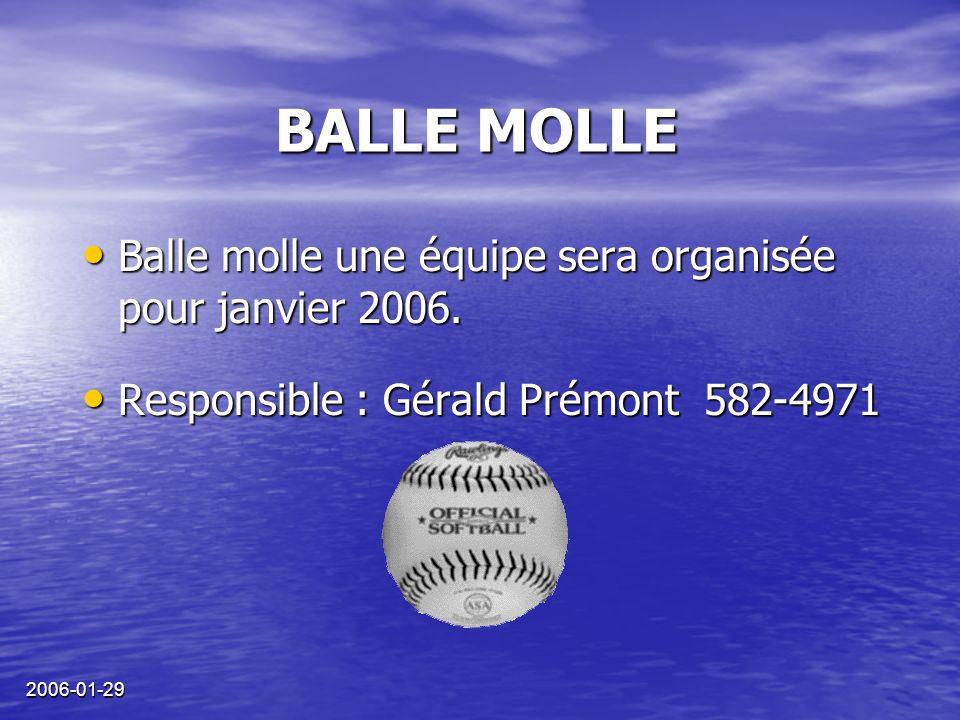 2006-01-29 BALLE MOLLE Balle molle une équipe sera organisée pour janvier 2006.