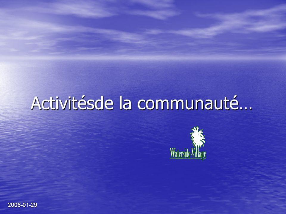 2006-01-29 Activitésde la communauté…