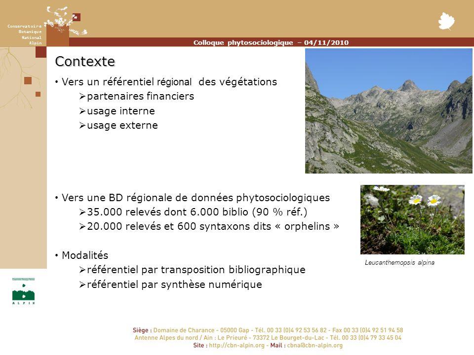 Conservatoire Botanique National Alpin Colloque phytosociologique – 04/11/2010 Contexte Vers un référentiel régional des végétations partenaires finan