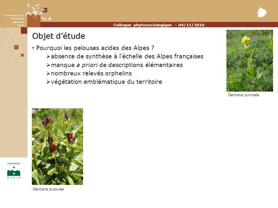 Conservatoire Botanique National Alpin Colloque phytosociologique – 04/11/2010 Objet détude Pourquoi les pelouses acides des Alpes .