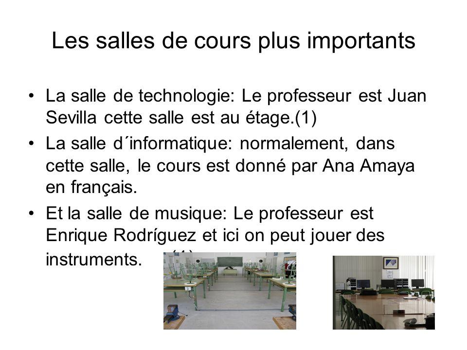 Les salles de cours plus importants La salle de technologie: Le professeur est Juan Sevilla cette salle est au étage.(1) La salle d´informatique: normalement, dans cette salle, le cours est donné par Ana Amaya en français.