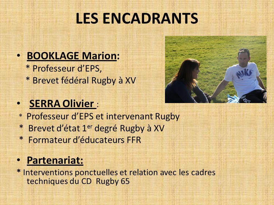 LES ENCADRANTS BOOKLAGE Marion: * Professeur dEPS, * Brevet fédéral Rugby à XV SERRA Olivier : * Professeur dEPS et intervenant Rugby * Brevet détat 1