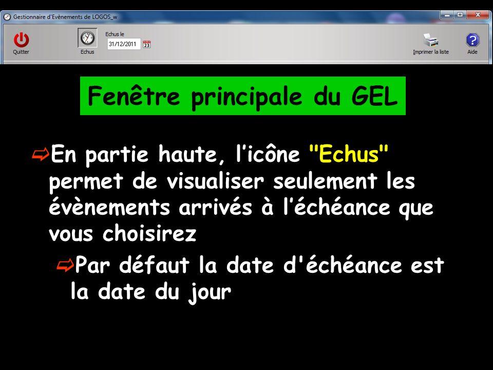 En partie haute, licône Echus permet de visualiser seulement les évènements arrivés à léchéance que vous choisirez Par défaut la date d échéance est la date du jour Fenêtre principale du GEL