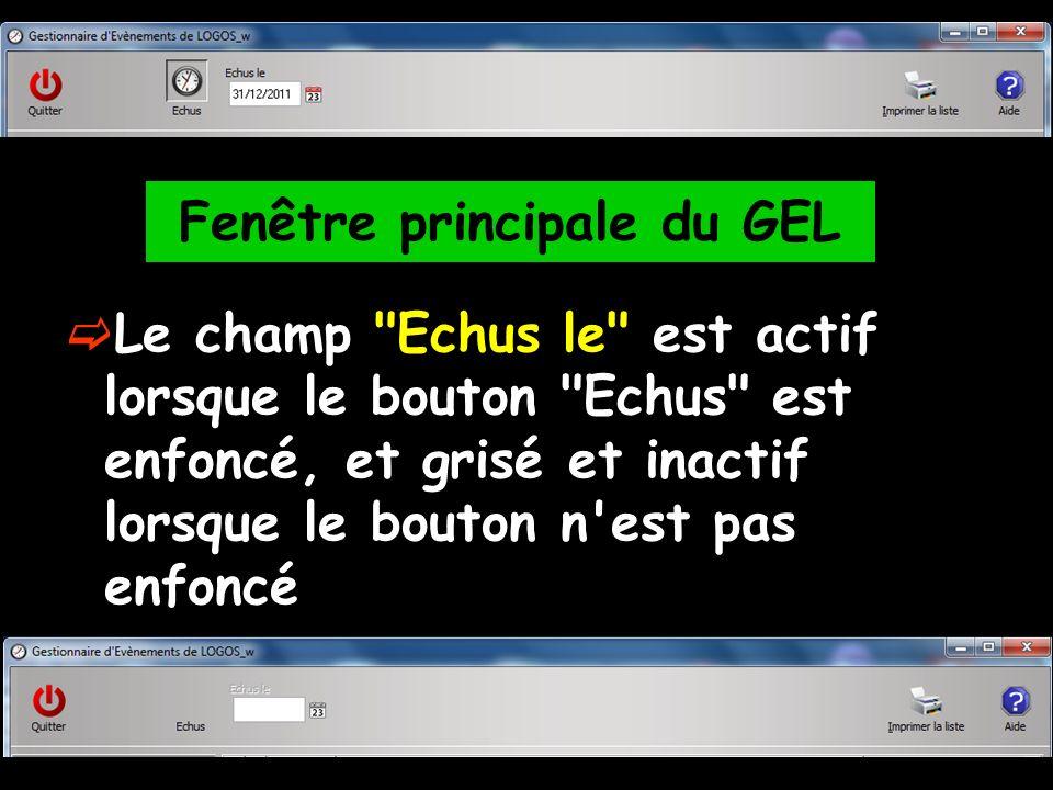Le champ Echus le est actif lorsque le bouton Echus est enfoncé, et grisé et inactif lorsque le bouton n est pas enfoncé Fenêtre principale du GEL