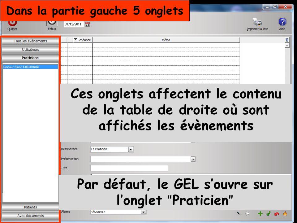 Dans la partie gauche 5 onglets Par défaut, le GEL souvre sur longlet ʺ Praticien ʺ Ces onglets affectent le contenu de la table de droite où sont affichés les évènements