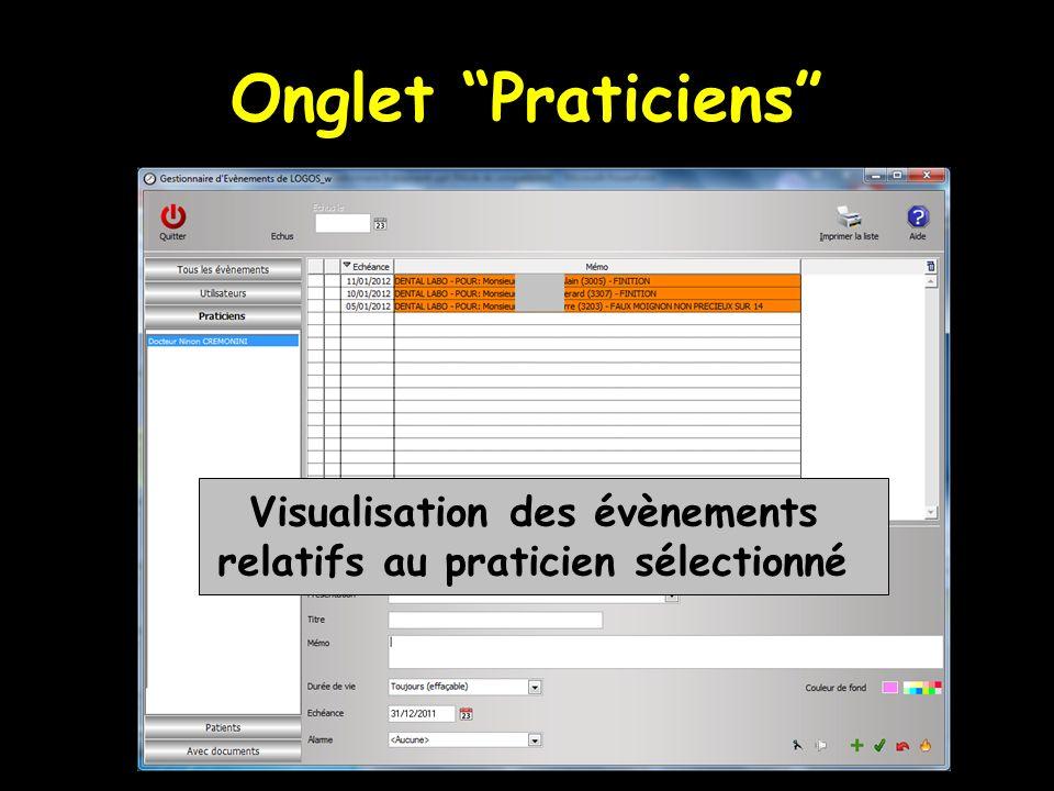 Onglet Praticiens Visualisation des évènements relatifs au praticien sélectionné