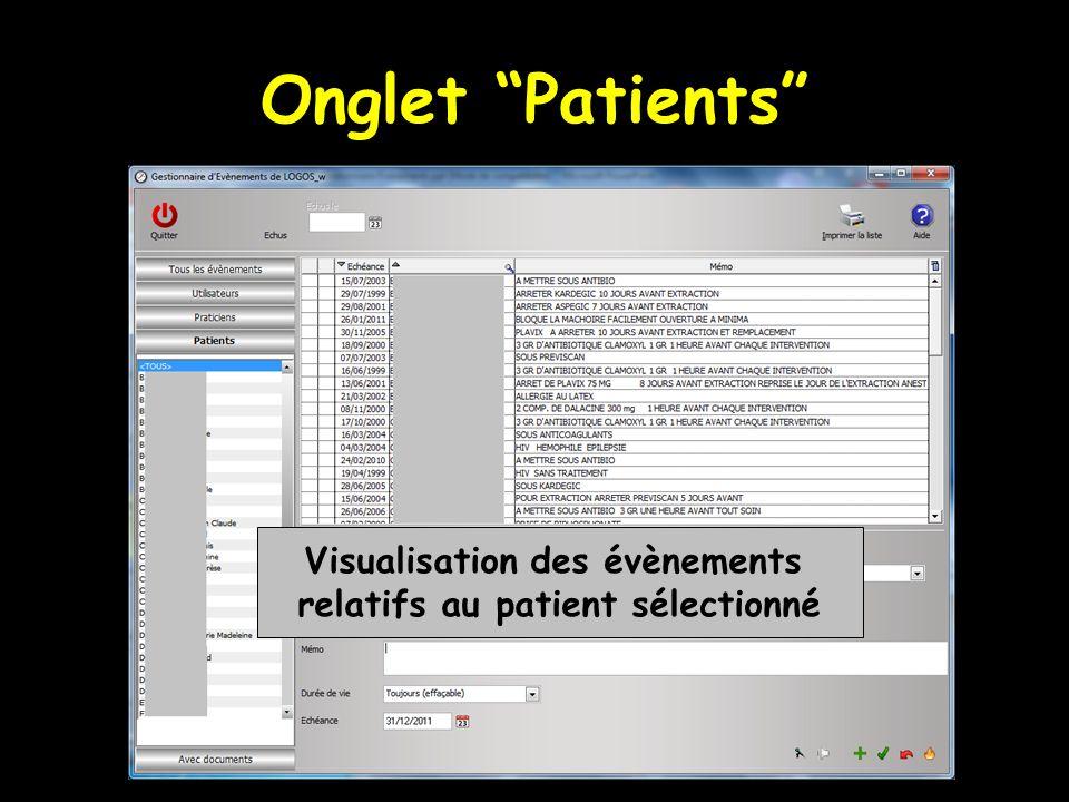 Onglet Patients Visualisation des évènements relatifs au patient sélectionné