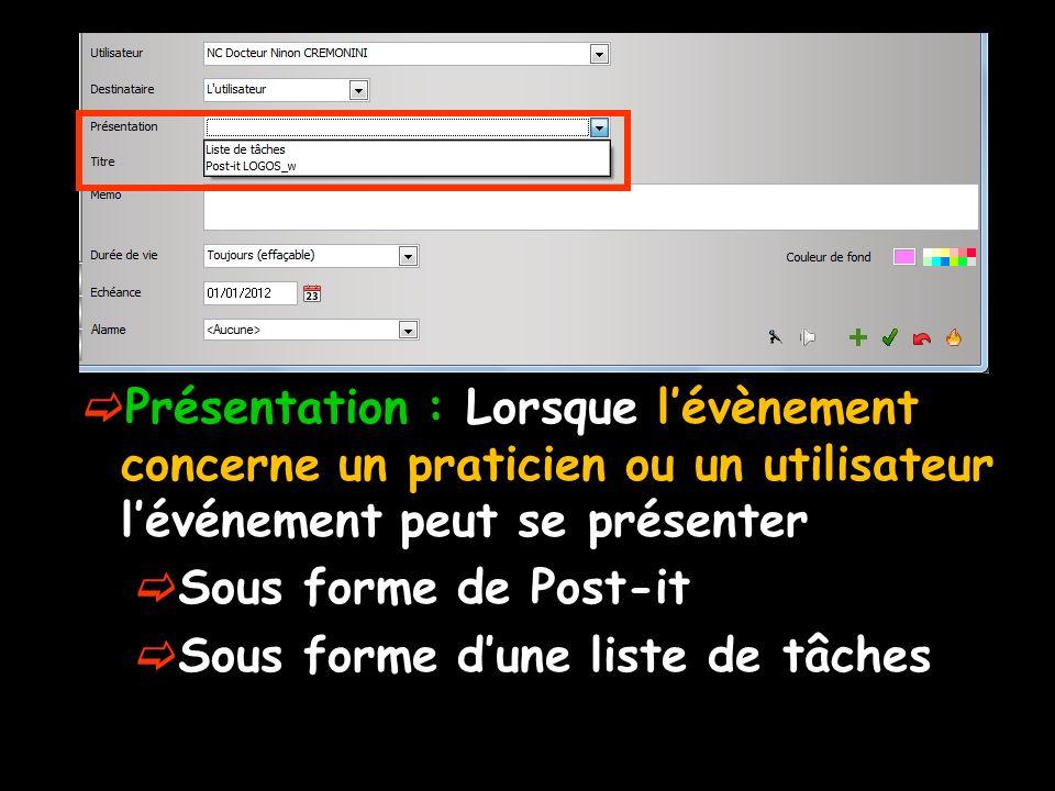 Présentation : Lorsque lévènement concerne un praticien ou un utilisateur lévénement peut se présenter Sous forme de Post-it Sous forme dune liste de tâches