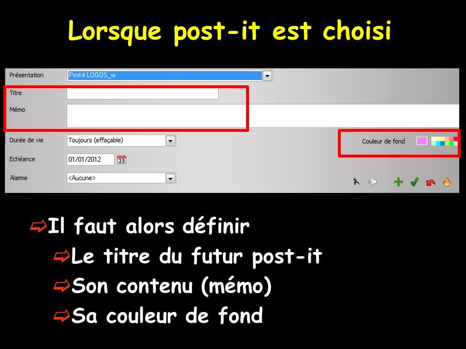 Lorsque post-it est choisi Il faut alors définir Le titre du futur post-it Son contenu (mémo) Sa couleur de fond