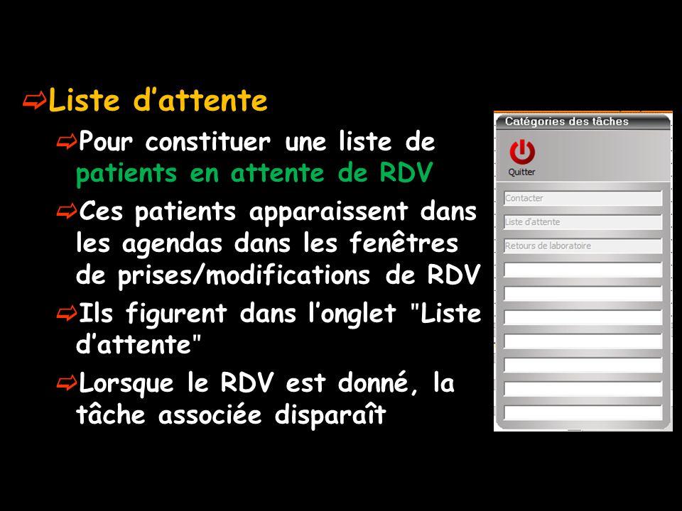 Liste dattente Pour constituer une liste de patients en attente de RDV Ces patients apparaissent dans les agendas dans les fenêtres de prises/modifications de RDV Ils figurent dans longlet ʺ Liste dattente ʺ Lorsque le RDV est donné, la tâche associée disparaît