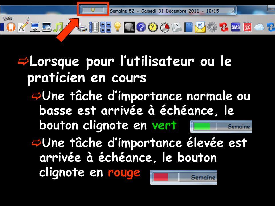 Lorsque pour lutilisateur ou le praticien en cours Une tâche dimportance normale ou basse est arrivée à échéance, le bouton clignote en vert Une tâche dimportance élevée est arrivée à échéance, le bouton clignote en rouge
