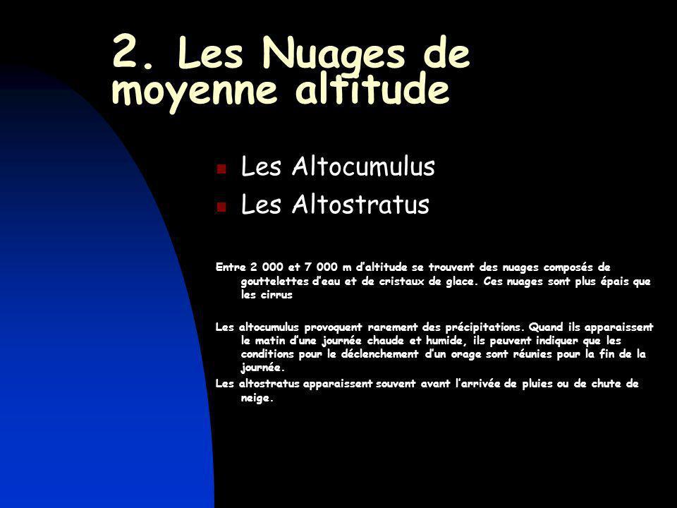 2. Les Nuages de moyenne altitude Les Altocumulus Les Altostratus Entre 2 000 et 7 000 m daltitude se trouvent des nuages composés de gouttelettes dea