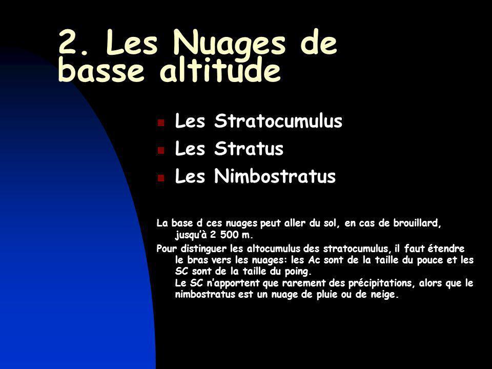 2. Les Nuages de basse altitude Les Stratocumulus Les Stratus Les Nimbostratus La base d ces nuages peut aller du sol, en cas de brouillard, jusquà 2