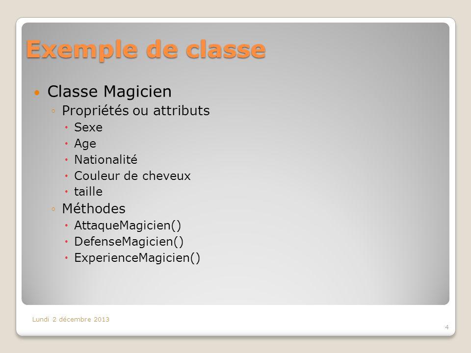 Exemple de classe Classe Magicien Propriétés ou attributs Sexe Age Nationalité Couleur de cheveux taille Méthodes AttaqueMagicien() DefenseMagicien()