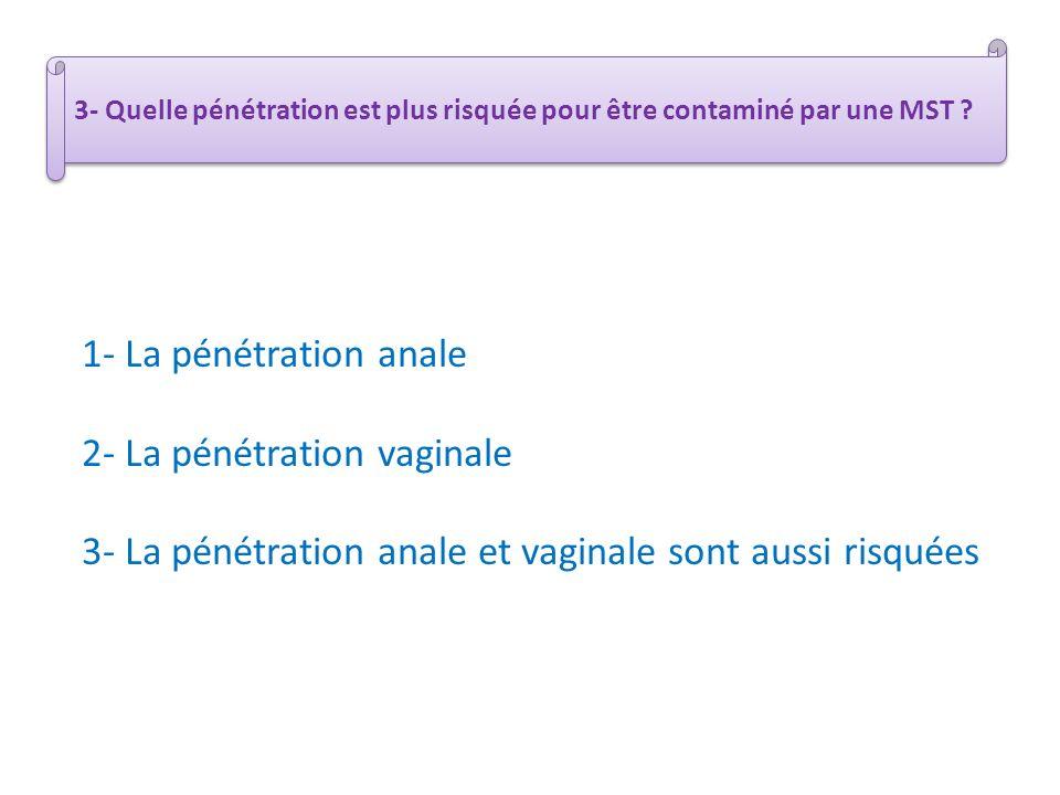 3- Quelle pénétration est plus risquée pour être contaminé par une MST ? 1- La pénétration anale 2- La pénétration vaginale 3- La pénétration anale et
