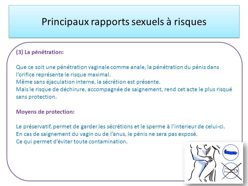 Principaux rapports sexuels à risques (3) La pénétration: Que ce soit une pénétration vaginale comme anale, la pénétration du pénis dans lorifice repr