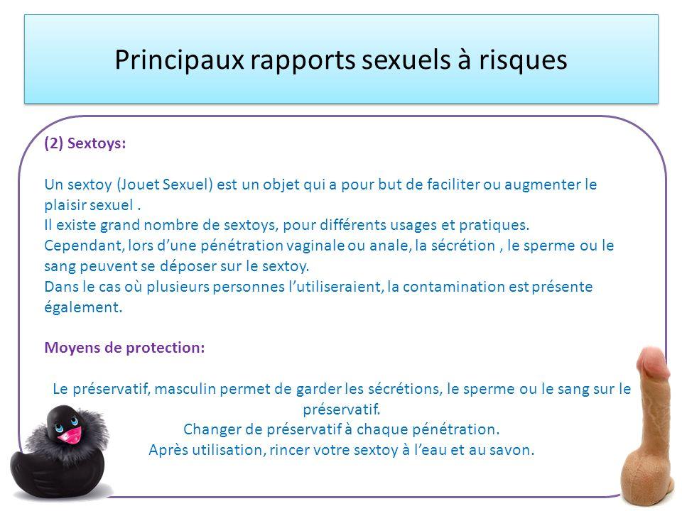 Principaux rapports sexuels à risques (2) Sextoys: Un sextoy (Jouet Sexuel) est un objet qui a pour but de faciliter ou augmenter le plaisir sexuel. I