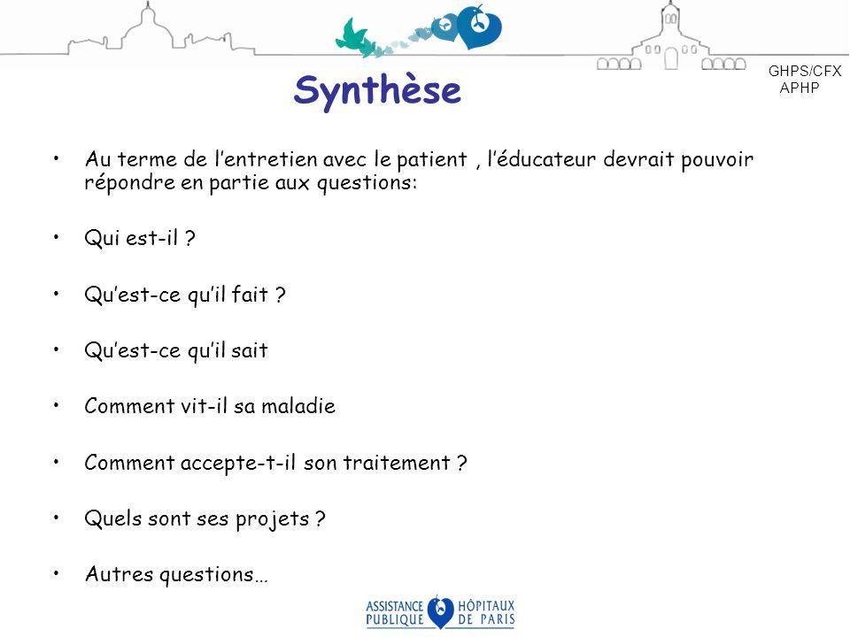 Synthèse Au terme de lentretien avec le patient, léducateur devrait pouvoir répondre en partie aux questions: Qui est-il ? Quest-ce quil fait ? Quest-